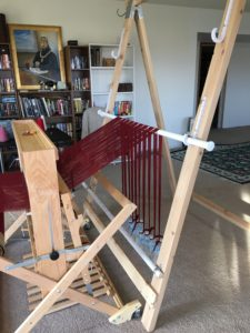 warping trapeze - moving closer to the loom